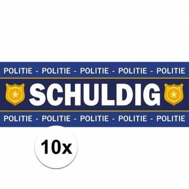 10 x schuldig stickers voor politie/agent verkleedkleren