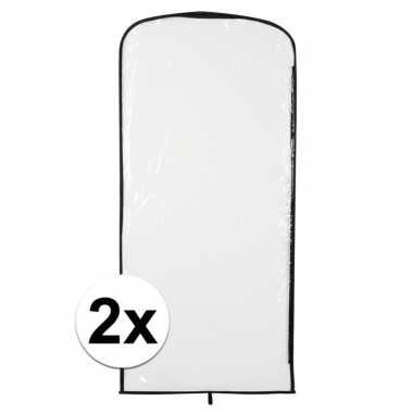 2x verkleedkleren opberghoes transparant 95 x 42 cm