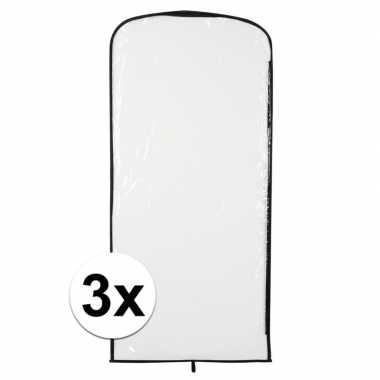 3x verkleedkleren opberghoes transparant 95 x 42 cm
