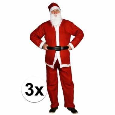 3x voordelige santa run kerstman verkleedkleren voor volwassenen