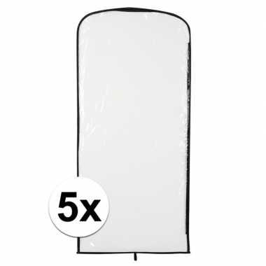 5x verkleedkleren opberghoes transparant 95 x 42 cm
