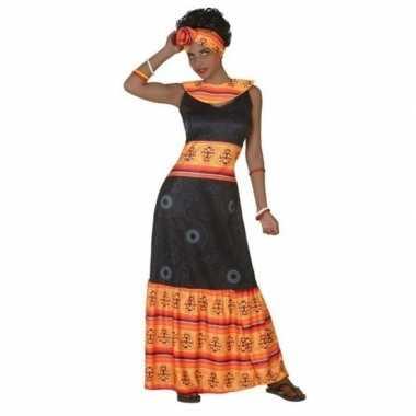 Afrikaanse jurk verkleedkleren zwart/oranje voor dames