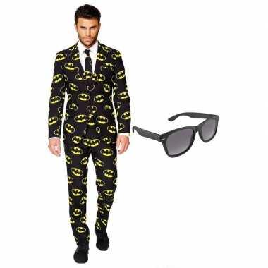 Batman heren verkleedkleren maat 56 (xxxl) met gratis zonnebril