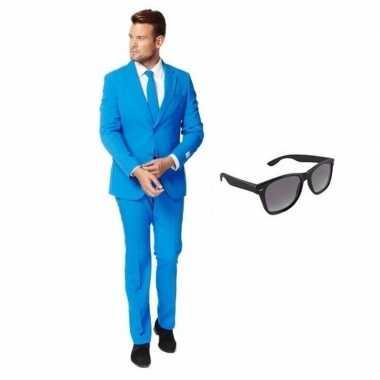 Blauw heren verkleedkleren maat 58 (4xl) met gratis zonnebril