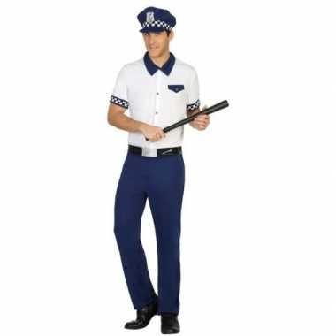 Blauw/wit politie verkleed pak/verkleedkleren voor heren