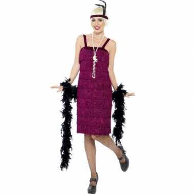 Bordeaux rood flapper jurkje verkleedkleren voor dames