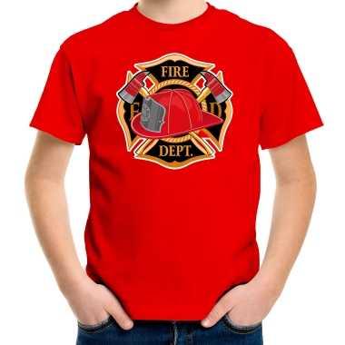 Brandweer logo t shirt / verkleedkleren rood voor kinderen