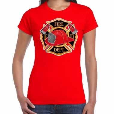 Brandweer logo verkleed t shirt / verkleedkleren rood voor dames