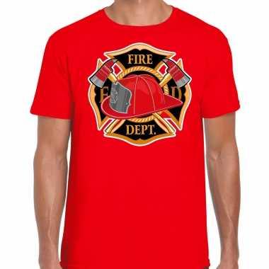 Brandweer logo verkleed t shirt / verkleedkleren rood voor heren