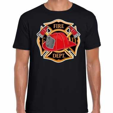 Brandweer logo verkleed t shirt / verkleedkleren zwart voor heren