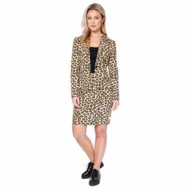 Bruin dames verkleedkleren met luipaard print