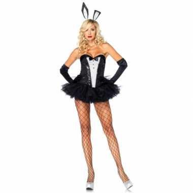 Bunny verkleedkleren zwart wit voor dames