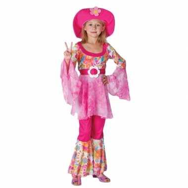 Complete roze hippie verkleedkleren voor meiden