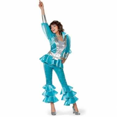 Dames disco verkleedkleren blauw/zilver