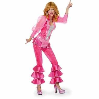 Dames disco verkleedkleren roze/zilver