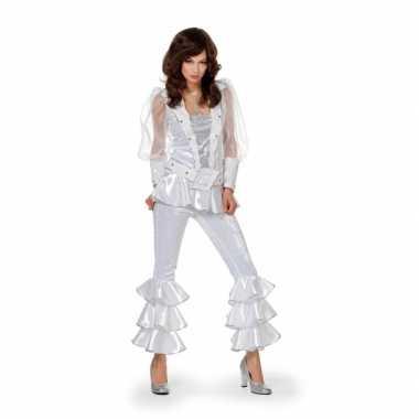 Dames disco verkleedkleren wit/zilver