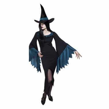 Dames heksen verkleedkleren zwart met blauw