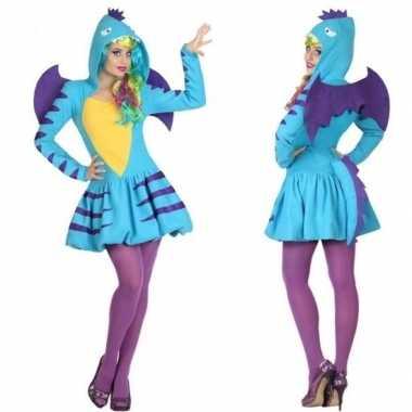 Dierenpak blauwe draak verkleedkleren/jurk voor dames
