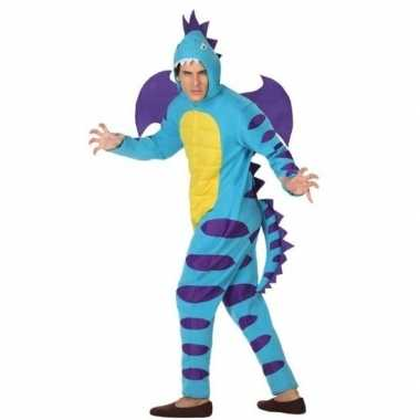 Dierenpak blauwe draak verkleedverkleedkleren voor volwassenen