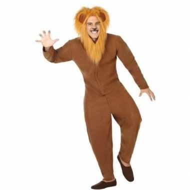 Dierenpak verkleedkleren bruine leeuw voor volwassenen