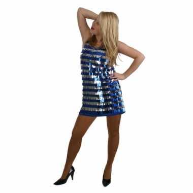 Disco verkleedkleren kort blauw en zilver met pailletten