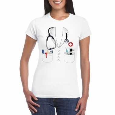Doktersjas verkleedkleren t shirt wit voor dames
