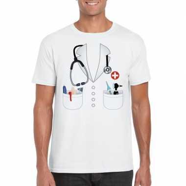 Doktersjas verkleedkleren t shirt wit voor heren