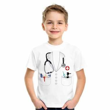 Doktersjas verkleedkleren t shirt wit voor kinderen