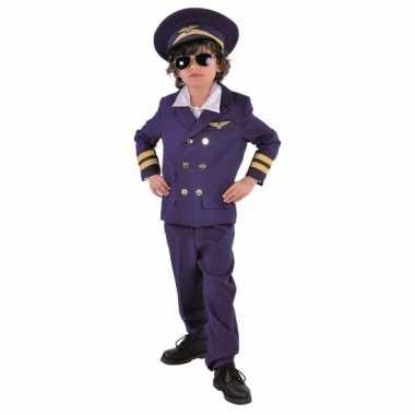 Donkerblauw piloten verkleedkleren voor kids