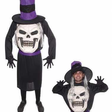 Doodskop halloween met hoed verkleedkleren voor heren