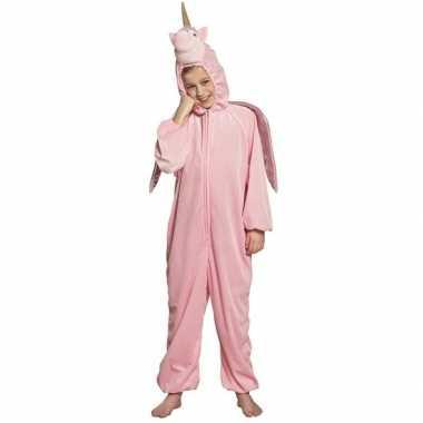 Eenhoorn dieren onesie/verkleedkleren voor kinderen roze
