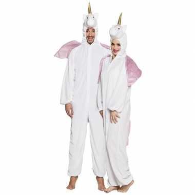 Eenhoorn dieren onesie/verkleedkleren voor volwassenen wit