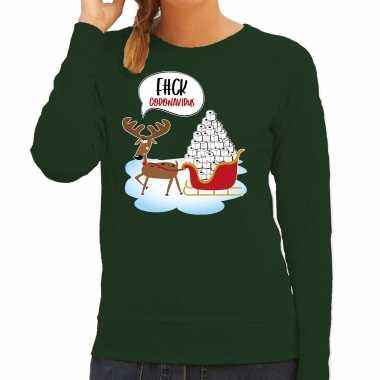 F#ck coronavirus foute kerstsweater / verkleedkleren groen voor dames