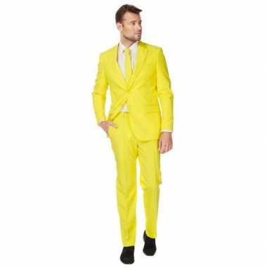 Fel geel verkleedkleren pak voor heren