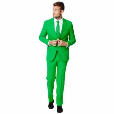 Fel groen verkleedkleren pak voor heren