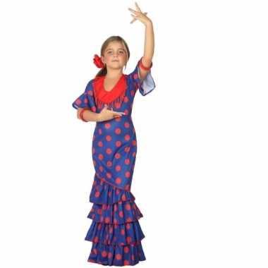 Flamenco danseres verkleedkleren blauw met rood
