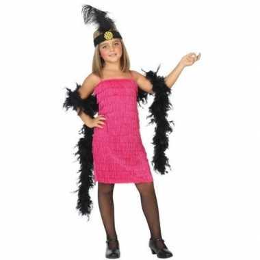 Flapper franje verkleedkleren/jurkje roze voor meisjes