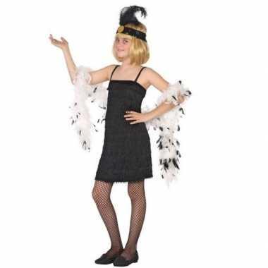 Flapper franje verkleedkleren/jurkje zwart voor meisjes