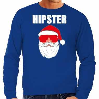 Foute kerst sweater / kerst verkleedkleren hipster santa blauw voor heren