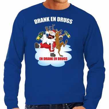 Foute kerstsweater / verkleedkleren drank en drugs blauw voor heren