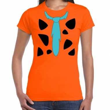 Fred holbewoner verkleedkleren t shirt oranje voor dames