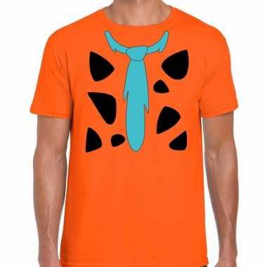 Fred holbewoner verkleedkleren t shirt oranje voor heren