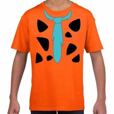 Fred holbewoner verkleedkleren t shirt oranje voor kinderen