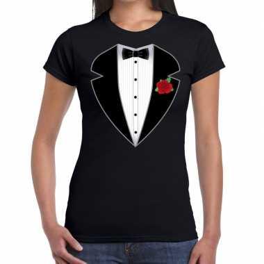 Gangster / maffia pak verkleedkleren t shirt zwart voor dames