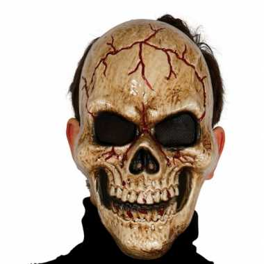 Gebarsten schedel masker voor skelet verkleedkleren