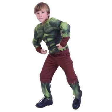 Gespierde groene held verkleedkleren voor jongens