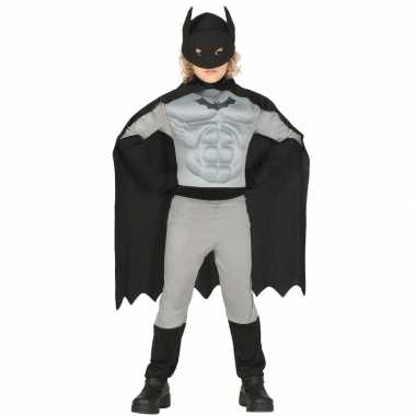 Gespierde vleermuisheld grijs/zwart verkleedverkleedkleren voor jonge