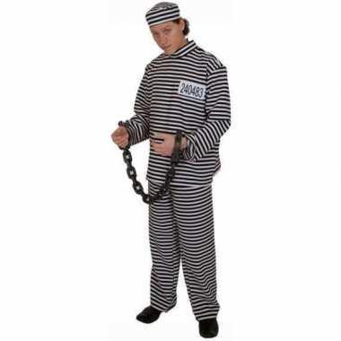 Gestreept gevangene verkleedkleren volwassene
