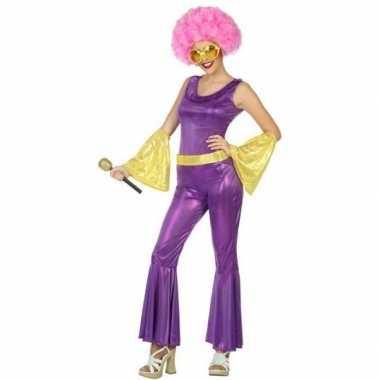 Goud/paars disco verkleed pak/verkleedkleren voor dames