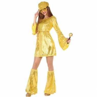 Gouden disco verkleed pak/verkleedkleren voor dames